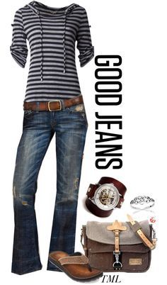 Love the whole outfit here. Stripes and medium wash jeans. Less rippage in the jeans. Mode Outfits, New Outfits, Fall Outfits, Summer Outfits, Casual Outfits, Fashion Outfits, Womens Fashion, Look Fashion, Autumn Fashion