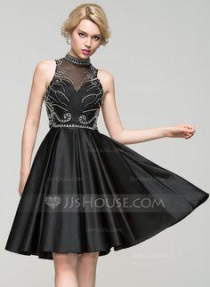 A-Line/Princess High Neck Knee-Length Beading Sequins Zipper Up Regular Straps Sleeveless No Black Spring Summer Fall General Plus Satin Homecoming Dress