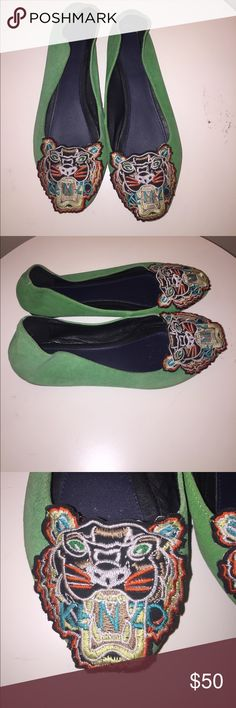 Kenzo Tiger Suede Kelly Green Flat 37 Cute and comfy Flats by Kenzo Kenzo Shoes Flats & Loafers