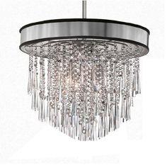 "Shaded Light Design 8-Light 22"" Chrome Crystal Hanging Pendant with Micro Shade SKU# 13058"