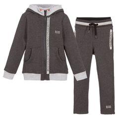 BOSS - Boys Grey Cotton Fleece Tracksuit | Childrensalon
