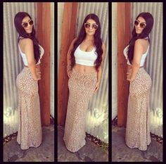 Skin-tight leopard maxi skirt & cropped white tank