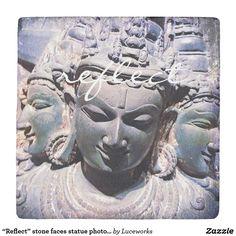 """Reflect"" stone faces statue photo stone coaster"