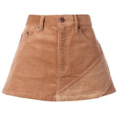Marc Jacobs Brown Corduroy Mini Skirt featuring polyvore, women's fashion, clothing, skirts, mini skirts, brown, brown mini skirt, button skirt, zipper skirt, short brown skirt and short skirts