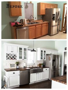 Beautiful kitchens budget that is remodels * inexpensive kitchen counters * DIY kitchen islands * inexpensive kitchen ideas * DIY kitchen makeover Diy Kitchen Remodel, Kitchen Redo, New Kitchen, Diy Kitchen Makeover, Small Kitchen Makeovers, Kitchen Counters, Cabinet Makeover, Rustic Kitchen, Kitchen Islands