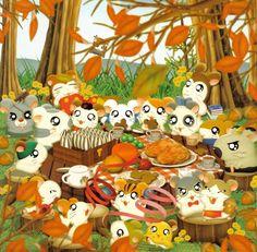 Hamtaro: A Fall Picnic Hamtaro, Happy Tree Friends, Old Anime, Manga Anime, Anime Art, Cute Characters, Anime Characters, Totoro, Fall Picnic