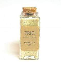 Ginger Lime Salt- Flavored Sea Salt Blend in Glass Bottle with Cork, Gourmet Seasoning, Spice by Trio3 for $8.50