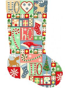 Christmas Stocking - Vintage Patchwork Cross Stitch Pattern Cross Stitch Christmas Stockings, Vintage Christmas Stockings, Cross Stitch Stocking, Christmas Stocking Pattern, Xmas Cross Stitch, Xmas Stockings, Christmas Sewing, Christmas Cross, Cross Stitching