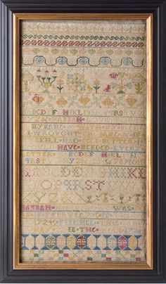 Early Boston antique needlework sampler