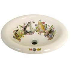 Cats in the Garden hand painted sink. On a biscuit drop in with flowers and butterflies. Gorgeous colors. Hand-made in the USA by decoratedbathroom.com