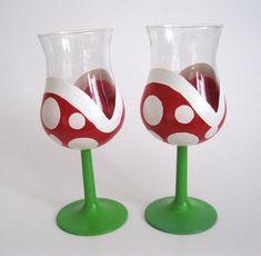Piranha Plant Wine Glasses  Hand Painted Mario by BasementInvaders, $30.00
