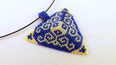 Beadwork+Peyote+Triangle+Pendant+in+Blue+and+by+MadeByKatarina,+$23.00