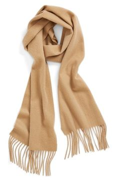 $52, Tan Scarf: Nordstrom Solid Woven Cashmere Scarf Camel One Size One Size. Sold by Nordstrom. Click for more info: http://lookastic.com/women/shop_items/127892/redirect