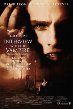 Interview with a Vampire Brad Pitt, Tom Cruise, Antonio Banderas and Kirsten Dunst star in this wonderful movie based on the novel by Anne Rice. I also love Christian Slater in this movie. This movie is rich and sensual. Tom Cruise plays a horrif Christian Slater, Best Horror Movies List, Scary Movies, Great Movies, Top Halloween Movies, Awesome Movies, Halloween Horror, Tom Cruise, Brad Pitt