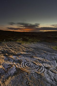 'Cup and Ring' rock carvings at Chatton Park Hill, Northumberland.