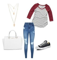 """""""How to wear converse"""" by brianna-bon ❤ liked on Polyvore featuring Abercrombie & Fitch, Converse, Forever 21, Lipsy and Michael Kors"""