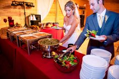 On your wedding night, be sure to get yourself some food! ::Amanda + Jon's naturally beautiful fall wedding at the Crooked Pines Farm in Eatonton, Georgia:: #bride #groom Wedding catering by At Your Service Catering. #delicious #weddingphotography