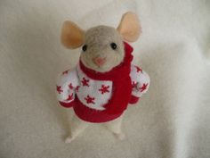 Winter mouse  Christmas Needle Felted OOAK by by grannancan