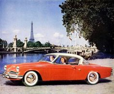 1953 Studebaker Commander V-8 Starliner hardtop convertible. Paris, évidemment… in the background we see Pont Alexandre III and that famous tower thingy.