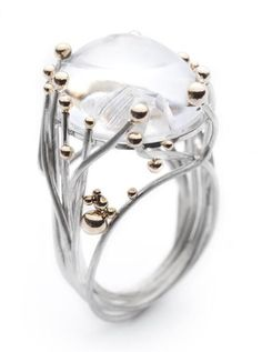 RING- Annegret Morf of Serafino Joailliers Contemporains, 14 Paths Crossing, sterling silver, 14-karat gold,