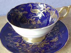 Vintage English Tea Sets | Antique Coalport English tea cup set, blue and gold tea cup and saucer ...