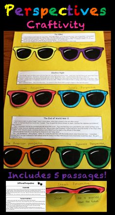 "Here's a hands-on way for your students to practice identifying various perspective (points of view) as they read! This is an engaging activity where your students read short passages and identify differing points of view as they read. Then, the students transfer their answers to make ""perspective sunglasses"". The finished products make a great bulletin board or hallway display! $"