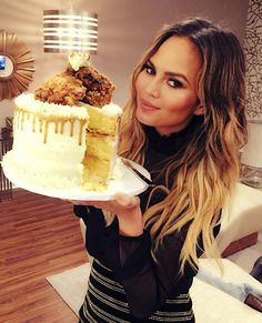 Chrissy Teigen Turns 30! See 15 Times the Mama-to-Be Was a Total Real Girl - Fried chicken or cake? Both, naturally.  - from InStyle.com