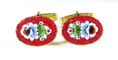 Gold Tone Cufflinks with Micro Mosiac Flower from Italy
