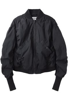 Halee Bomber Jacket by Acne Studios.  Slouchy bomber jacket with dropped shoulders, zip front & elastic seams.