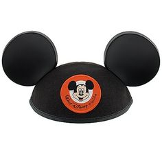 Mickey Mouse Ears Black Hat. has child and elastic chin strap