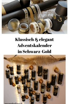 DIY|| Upcycling Adventskalender in Schwarz-Gold Countdown Calendar, Advent Calendar, Diy Upcycling, Diy Weihnachten, Wine Rack, Diy And Crafts, Merry Christmas, Photo Wall, Gift Wrapping