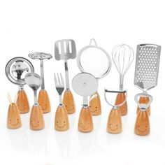 >> Click to Buy << 12 Sets Of Korean Wooden Handle Smiling Face Tableware Suit Stainless For Kitchen Gadgets Suit Cooking Tools Oil Sprayer #Affiliate
