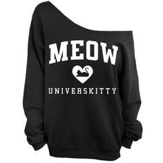 Meow Universkitty Cat Shirt - Black Slouchy Oversized Sweatshirt ($22) ❤ liked on Polyvore featuring tops, hoodies, sweatshirts, shirts, sweaters, oversized shirts, slouchy shirts, loose fit shirt, slouchy oversized sweatshirt and cat shirts