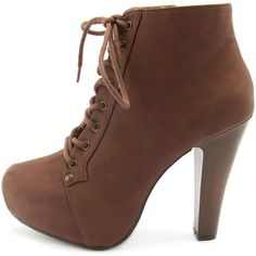 Lace-Up Platform Heel Bootie ($29) ❤ liked on Polyvore featuring shoes, boots, ankle booties, heels, zapatos, booties, cognac, high heel booties, heeled booties and lace up platform bootie