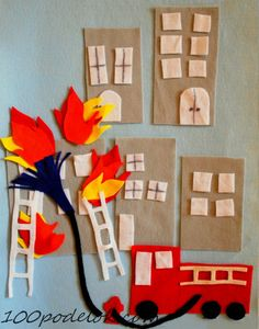 Awesome Fire themed Feltboard - part of the Fire Fighter Birthday Party: Hands-On Firefighting Play Ideas post at One Time Through. Firefighter Crafts, Firefighter Birthday, Felt Diy, Felt Crafts, Fire Safety Week, Community Helpers Preschool, Felt Board Stories, Fire Prevention, Preschool Activities