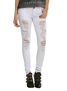 ChiQle White Distressed Super Skinny Jeans | Hot Topic