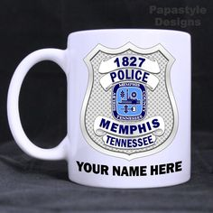 Memphis Police Personalized 11oz Coffee Mugs Made in the USA. #Handmade