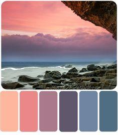 Premo Polymer Clay Color Mixing Recipes for Color Palette Coral Colour Palette, Sunset Color Palette, Color Schemes Colour Palettes, Sunset Colors, Bedroom Color Schemes, Bedroom Paint Colors, Lavender Color Scheme, Coral Color Schemes, Beach Color Palettes