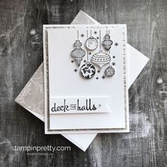 Create-this-holiday-card-using-the-Beautiful-Baubles-Bundle-.- Create-this-holiday-card-using-the-Beautiful-Baubles-Bundle-by-StampinUP-Mary-Fi… Create-this-holiday-card-using-the-Beautiful-Baubles-Bundle-by-StampinUP-Mary-Fish-Stampin-Pretty - Homemade Christmas Cards, Stampin Up Christmas, Homemade Cards, Christmas Wreaths, Christmas Crafts, Christmas Ideas, Diy Christmas Cards Cricut, Scrapbook Christmas Cards, Diy Holiday Cards