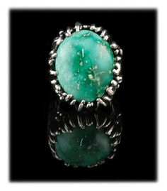 Large Green Turquoise Ring By Crystal