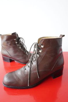 Boots Bottines Godillots 36 CUIR LEATHER marron Comme Neuf Vintage VTG 70 NEW