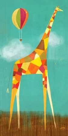 """Too Tall Giraffe"" animal wall art by Melanie Mikecz for Oopsy daisy, Fine Art for Kids"