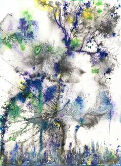 'Indigo Light'  This is an original painting created with ink, salt, and water on watercolor paper.  #FennelBlythe