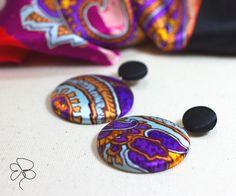 Orecchini pendenti in seta con disegno cachemire