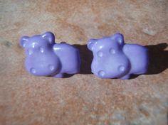 HUNGRY HIPPOS Grape Purple Studs Earrings   Nickel by veryvintage, $3.75