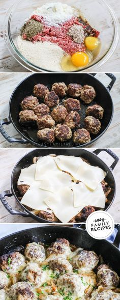 These French Onion Meatballs are the ultimate one pan dinner! Made with tender homemade ground beef meatballs, sweet caramelized onions, and lots of cheese, this easy recipe is a big crowd pleaser. Serve it over mashed potatoes or rice for a hearty dinner that is packed with flavor. Trust me: this is the ultimate meatball recipe! Appetizer recipes for party that a) please a crowd b) are easy to make and c) are delicious (!!) can be hard to come by. These are the best appetizer bites!