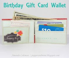 Who wouldn't want this for their birthday? This fun wallet can store all kinds of goodies! Designed by Amanda Coleman. Used products from the From Me To You collection by Pebbles Inc.