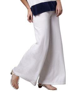 Wide-Leg+Palazzo+Knit+Pants,+White,+Plus+Size++by+Minnie+Rose+at+Neiman+Marcus.