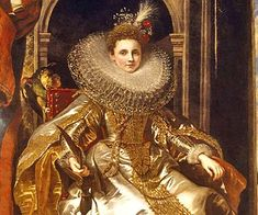 An image of a decadent oil painting of a Tudor Queen sitting at her thrown in a huge regal robe