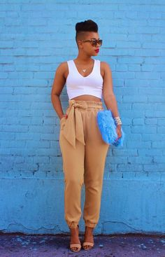 She Recycles Fashion: Tan Trousers + Baby Blue Clutch